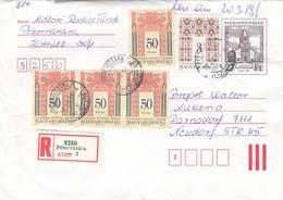 UNGARN 1998 - 27 Ft Ganzsache + 5 Fach Frankierung Auf R-Brief Gel.v. Petervasara N. Parndorf - Ungarn