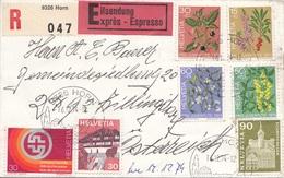 SCHWEIZ 1974 - 7 Fach Frankierung Auf EXPRESS-RECO-Brief Gel.v. Schweiz N. Zillingsdorf - Schweiz