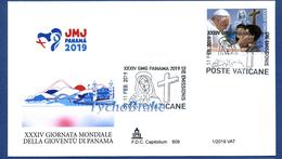 FDC GIORNATA MONDIALE GIOVENTÙ PANAMA 2019 VATICANO GMG First Day Cover Busta Primo Giorno JEUNESSE JMJ - CAPITOLIUM 609 - FDC