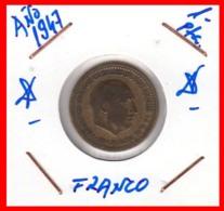 ESPAÑA  ( EUROPA ) MONEDA DE 1 PESETA  AÑO 1947 FRANCO - [ 4] 1939-1947 : Gobierno Nacionalista