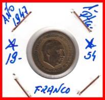 ESPAÑA  ( EUROPA ) MONEDA DE 1 PESETA  AÑO 1947 FRANCO  **19 - 54** - [ 4] 1939-1947 : Gobierno Nacionalista