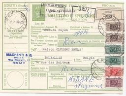 ITALIEN BULLETIN 1962 - 6 Fach Frankierte Paketkarte (20+50+2x200+2x500 L) Gel.Como - Bruxelles - 6. 1946-.. Republik
