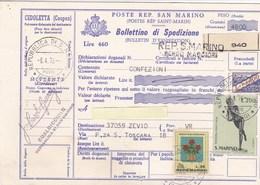 1976 Bollettino Spedizione Da San Marino Per L'Italia, Piega Centrale. - Saint-Marin