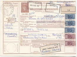 ITALIEN BULLETIN 1962 - 5 Fach Frankierte Paketkarte (2x20+3x100 L) Gel.Gavorrano - Bruxelles - Paketmarken