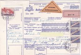 1975 Bollettino Spedizione Con Assegno Da San Marino Per L'Italia, Piega Centrale. - Saint-Marin