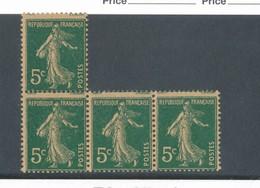 FRANCE - N°YT 137h)x4 NEUFS** SANS CHARNIERE - COTE YT : 20€ - 1907 - 1906-38 Semeuse Camée