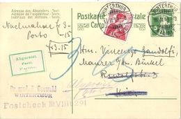 NN PK 52y  Winterthur Filiale - Winterthur  (Abgereist)           1913 - Stamped Stationery