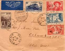 Pli à Destination Des Etats-Unis D'Amérique Avec Bel Affranchissement Composé SUPERBE - Postmark Collection (Covers)