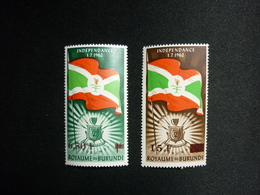 BURUNDI, 1963 Issues Of 1962 Surcharged In Brown Scott #51-52 CV 1,45$ MNH - 1962-69: Nuovi
