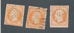 FRANCE - N°YT 16x3 OBLITERES - COTE YT : 66€ - 1853 - 1853-1860 Napoléon III