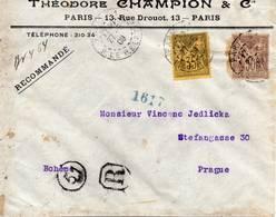 Pli à Destination De La BOHEME En Recommandé 30c + 35c Type Sage SUPERBE - Postmark Collection (Covers)