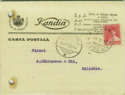 ROMANIA - TIMISOARA - KANDIA - FABRICA CIOCOLATA SI CONSERVE - ADVERTISING POSTCARD WITH SIGNATURE - 1930 (BG3144) - Romania