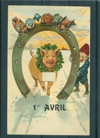 Relief - Gaufrée - Embossed - Prage - Cochon - TBE - Cochons
