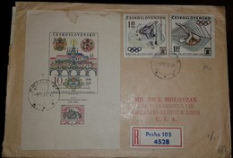 O) 1973 CZECHOSLOVAKIA, OLYMPIC GAMES MUNICH - SPORT-CANOEING -DIVING, VIEW PRAGUE-LANDSCAPE, REGISTERED TO USA - Czechoslovakia