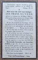 Jan Frans Nuyens - Lichtaart 20 Maart 1864 - 4 April 1943 - Décès