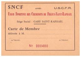 CARTE De Membre- SNCF-UNION SPORTIVE DES CHEMINOTS DE FREJUS-SAINT-RAPHAEL - N°000480 - Cartes