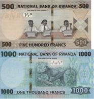 RWANDA Set Of 2v: 500 And 1000 Francs 2019 P New UNC - Rwanda