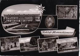 AK Schloß Herrenchiemsee - Mehrbildkarte Edelweiß König Ludwig - 1959 (40361) - Chiemgauer Alpen