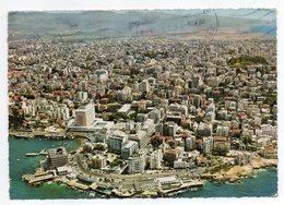 Liban--BEYROUTH--BEIRUT--1966--Vue Aérienne,Quartier Des Grands Hôtels Et Cabarets--timbre Papillon-cachet - Liban