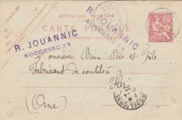 "AURAY - Cachet  Magasin   R. JOUANNIC"" - Sur Entier Postal - Scan Recto-verso - Enteros Postales"