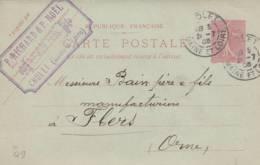 """Cholet - Cachet  Maison  RICHARD Et NOEL  """" - Sur Entier Postal - Scan Recto-verso - Biglietto Postale"""