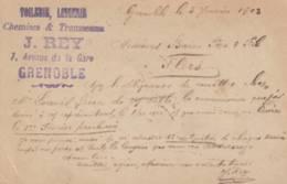 """Grenoble  - Cachet  Magasin   """"  J.  REY  """" - Sur Entier Postal - Scan Recto-verso - Enteros Postales"""
