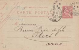 """Grenoble  - Cachet  Magasin   """"  J. CHATIN  """" - Sur Entier Postal - Scan Recto-verso - Postales Tipos Y (antes De 1995)"""