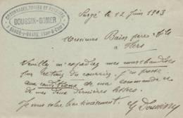 "Sargé  Sur Braye  -cachet  Société""  DOUSSIN-BOMER "" - Sur Entier Postal - Scan Recto-verso - Enteros Postales"