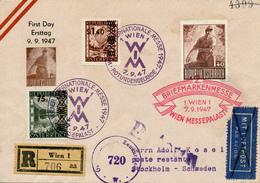 WIEN  1 -  7.9.47 , Internationale Messe  -  R-Brief Nach Stockholm - Zensur - Poste Aérienne