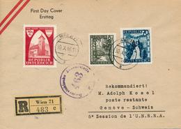 WIEN 71 -  30.X.46    FD  , 950 Jahre Österreich   - R-Brief Nach Geneve  - Zensur - 1945-60 Briefe U. Dokumente