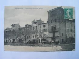 Cpa  Animée - CASTELLANE  - Promenade Du Cordon Et La Tour. - Castellane