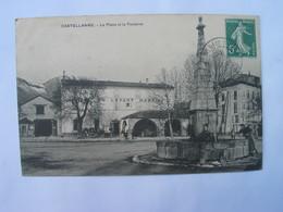 Cpa  Animée - CASTELLANE  - La Place Et La Fontaine - Devanture Hotel Du Levant  - Martin - Castellane
