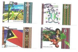 East Timor 2002 - Independence Day Crocodile, Palm, Coffee, Flag Set MNH - Timor Oriental