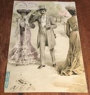 PF B Serie 3088 Superb Illustration Of Strolling Couple ~ Embossed Postcard ~ Postmark 1904 - 1900-1949