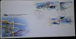 L) 2004 MALAYSIA, MAIN PORT IN MALAYSIA, BOAT, MAP, INDUSTRY, 30 SEN, 50 SEN, FDC - Malaysia (1964-...)