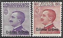 Eritrea   1916-6   Sc#43-4   50c & 60c(no Charge)  MLH  2016 Scott Value $16 - Eritrea