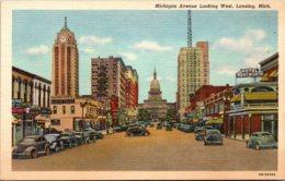 Michigan Lansing Michigan Avenue Looking West Curteich - Lansing