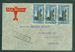 "Belgian Congo. Cover Airmail 1938. 3 Row. Airplane,Boats 2 F. Scott"" C3.  Adr:Denmark - Belgian Congo"