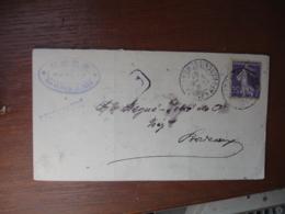 1907 Paris Affranchissement Recommande Timbre Semeuse 35 C Violet - Marcophilie (Lettres)