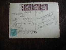 Lettre Taxee Bande 3 Timbre 50 C Chiffre Taxe Duval Lettre De Suisse - Marcophilie (Lettres)