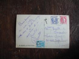 Lettre Taxee Timbre Gerbe Gerbes Chiffre Taxe 2 F Obliteration Triangle De Biarritz A Paris - Marcophilie (Lettres)