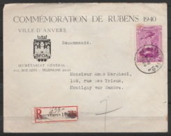 L. Entête Commémoration P.P.Rubens Recom. Affr. N°510 Càd ANVERS/27 X 1939 Pour MONTIGNY-sur-Sambre - Belgien