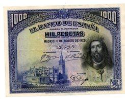 1000 Pesetas 1928 - [ 1] …-1931 : Premiers Billets (Banco De España)