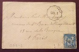 CS3-3 Convoyeur Station SABL.T Chantonnay Vendée Verso Paris Distribution  20/8/1877 - Postmark Collection (Covers)