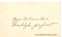 Visitekaartje - Carte Visite - Remi De Vreese - Beels  - Nazareth Blauwhuis - Cartoncini Da Visita