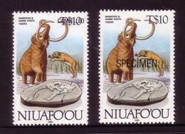 Niuafoou 1993 Evolution - Proof + Specimen Of High Value $10 Mammoth, Sabre Tooth Tiger - Vor- U. Frühgeschichte