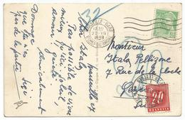 MERCURE 45C SEUL CARTE MARSEILLE GARE 1939 POUR GENEVE TAXE 20C - 1938-42 Mercure