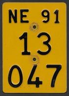 Velonummer Mofanummer Neuenburg NE 91 - Number Plates