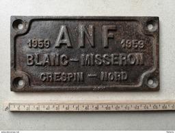 Plaque Chemin De Fer 1959 ANF Blanc Misseron Crespin Nord - Eisenbahnverkehr