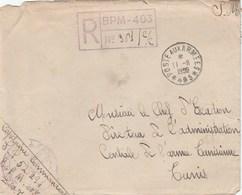 LETTRE FM REC - BPM 403 - COMPAGNIE DU TRAIN - CDT DU SP 52294 - POUR CDT DE  L A.C.A.T - TUNIS 11/6/50 - Postmark Collection (Covers)